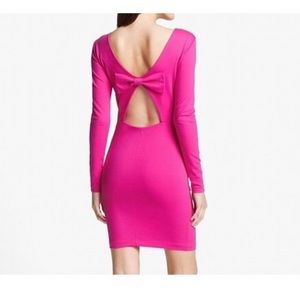 Pink Long Sleeve Back Bow Dress cocktail wedding